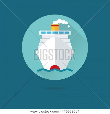 Cruise ship icon, travel concept. Flat design vector icon cruise ship on the ocean