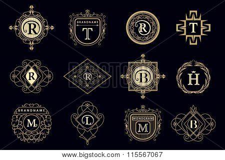 Monogram Design Elements, Graceful Template. Calligraphic Elegant Line Art Logo Design Letter Emblem