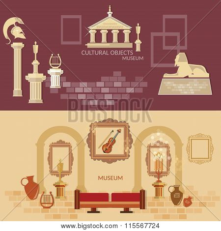Archaeological Museum Of Antiquity Ancient Civilizations Science Exposition Flat Banners