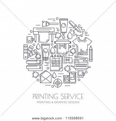 Vector Outline Icons Set, Logo And Design Elements. Concept For Copy Center, Printing Service, Publi