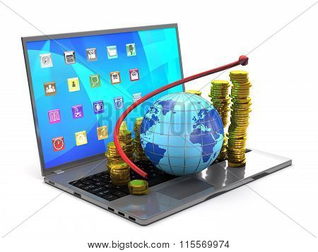 Globe, Tablet Pc, Gold Coins And Red Arrow.