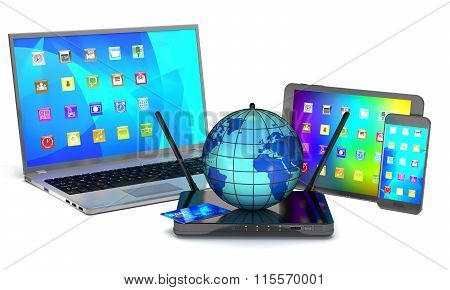 Router, Laptop, Smartphone, Tablet And Globe.