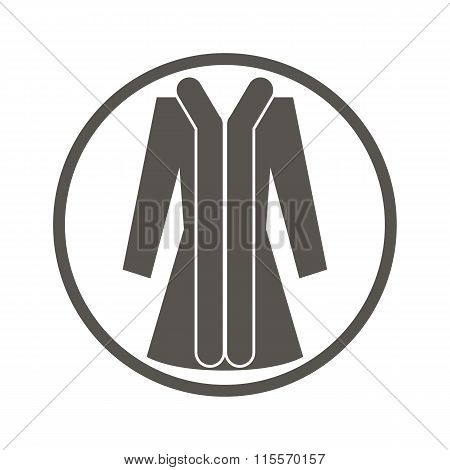Clothing simple icon, vector illustration of woman coat.