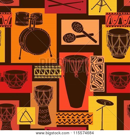 Musical Seamless Pattern Of Drum Set.