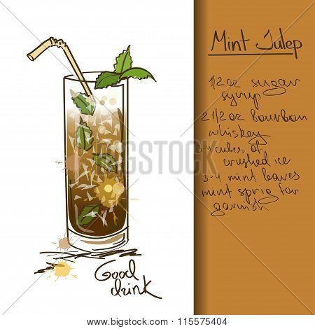 Illustration with hand drawn cartoon Mint Julep cocktail