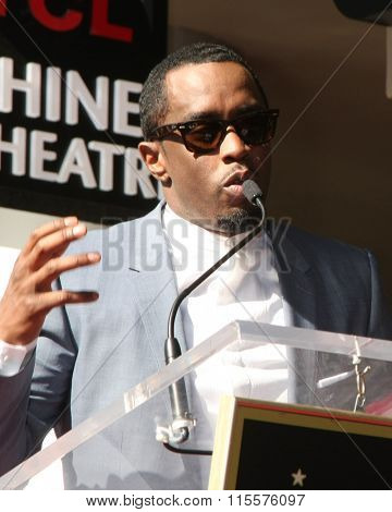 LOS ANGELES - JAN 21:  Sean Combs at the LL Cool J Hollywood Walk of Fame Ceremony at the Hollywood and Highland on January 21, 2016 in Los Angeles, CA