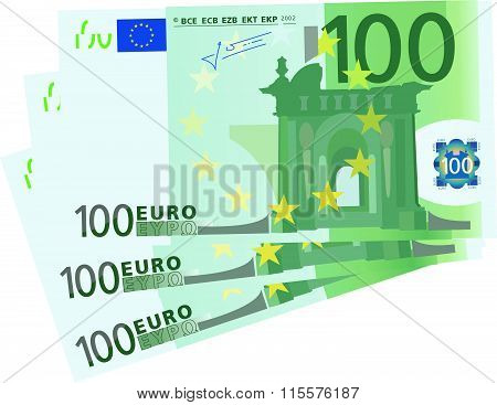 Vector drawing stylized 100 Euro bills