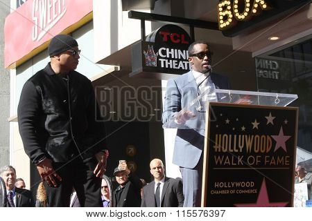 LOS ANGELES - JAN 21:  Sean Combs, LL Cool J at the LL Cool J Hollywood Walk of Fame Ceremony at the Hollywood and Highland on January 21, 2016 in Los Angeles, CA