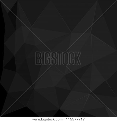 Abstract polygonal geometric facet Black background illustration