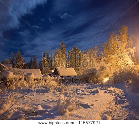 winter night in the village