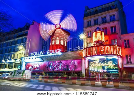 The Cabaret Moulin Rouge, Paris, France.