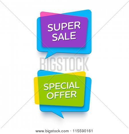 Vector bright plastic banners for online store.