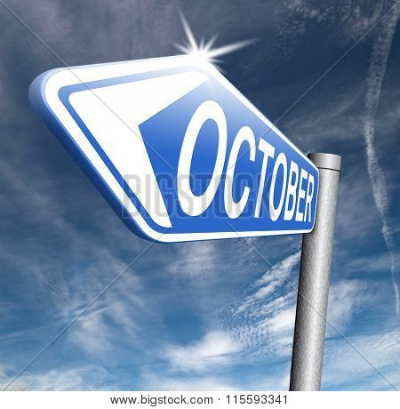October autumn or next fall month or event schedule calendar