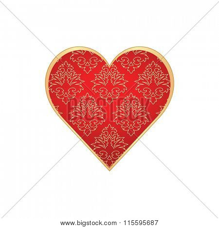 Heart shape with hand drawn floral ornament