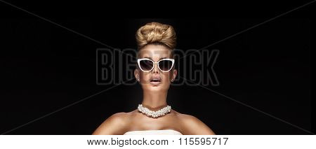 Portrait Of Blonde Elegant Woman.