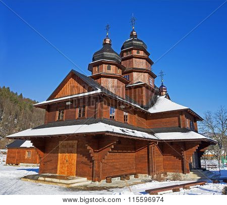 Wooden church in Ivano-Frankivsk on the way to Bukovel Ukraine