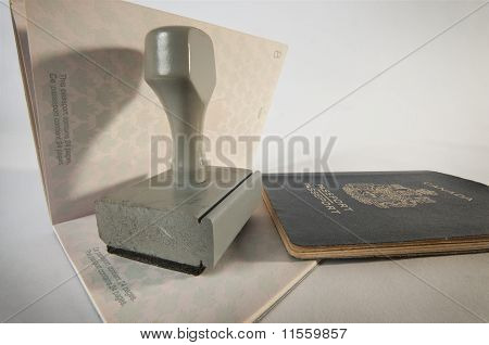 Wooden Rubber Stamp  On Canadian Passport