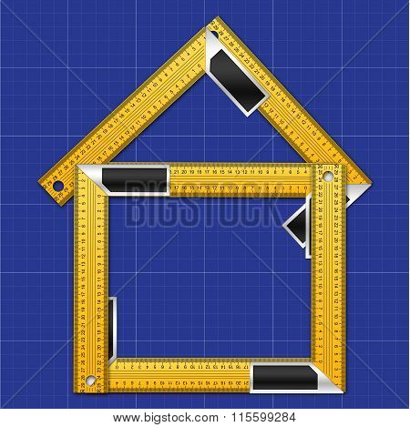 Iron Rulers in a Shape of House Icon