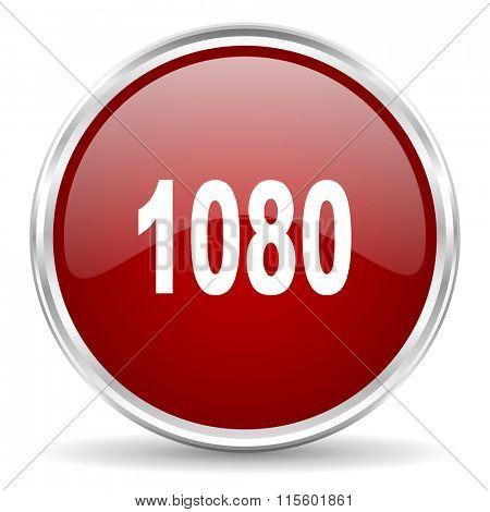 1080 red glossy circle web icon