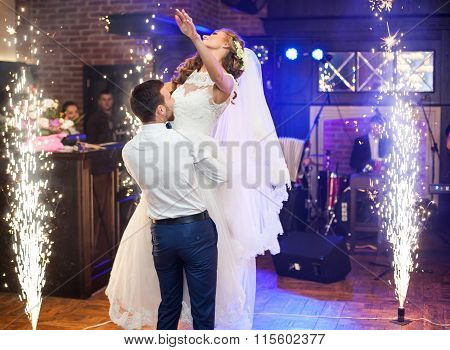 Beautiful Newlywed Couple First Dance At Wedding Reception Surrounded By Smoke And Blue Lights Amd S