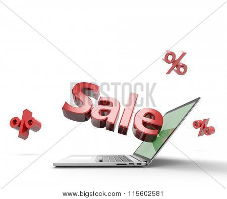Open laptop with Sale label jutting out from its display, isolated on white. Clipping path for display included.