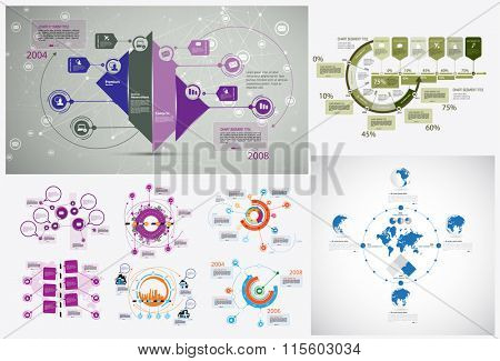 Business infographic template for interactive data communication