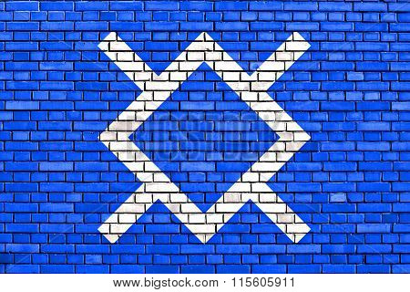 Flag Of Northern Cheyenne Painted On Brick Wall