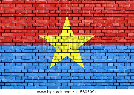 Flag Of Viet Cong Painted On Brick Wall