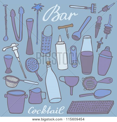 Bar equipment set. Hand-drawn cartoon collection of bartender stuff. Doodle drawing. Vector illustration
