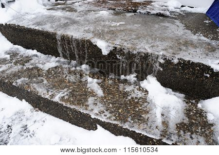 snow and ice on stairs in winter