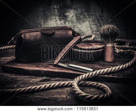 Gentleman's accessories on a luxury wooden board