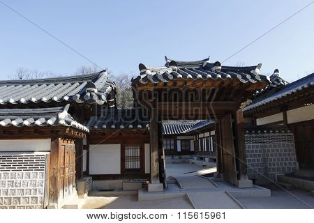 Gyeongbok Palace Roof Layers And Door Connection Tourism In Korea