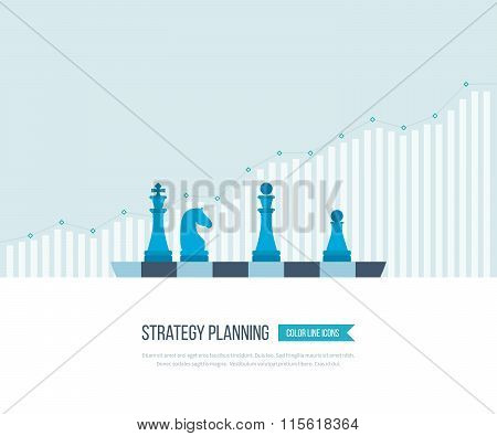 Flat line design concept for investment, strategy planning, finance, market data analytics, strategic management. Strategy for successful business. Investment growth. Strategy business. Strategy concept. poster
