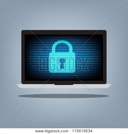 Laptop Computer With Blue Binary Code And Key Lock On Desktop Background. Vector Illustration Comput