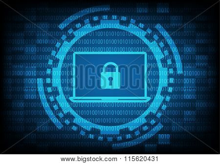 Comuter Laptop With Key In Blue Of Ring And Gears On Binary Code Background.vector Illustration Secu
