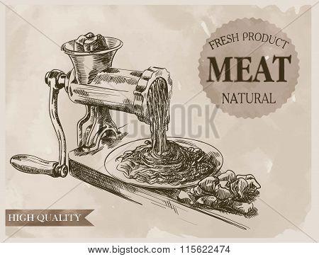 sketch of meat grinder