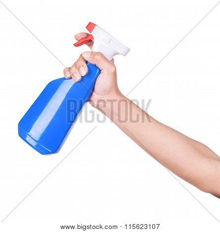 Spray Bottle By Hand On White Background.