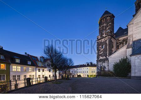 Herz-jesu Church In Aachen, Germany At Night
