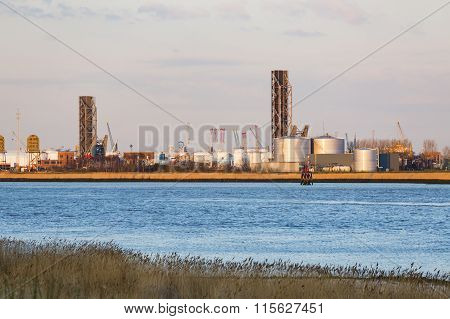 Lift Bridges In Antwerp In Evening Sunlight