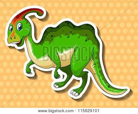 Green dinosaur on polkadots background illustration