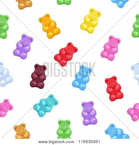 Seamless gummy bears candies background.