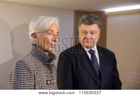 Christine Lagarde And Petro Poroshenko