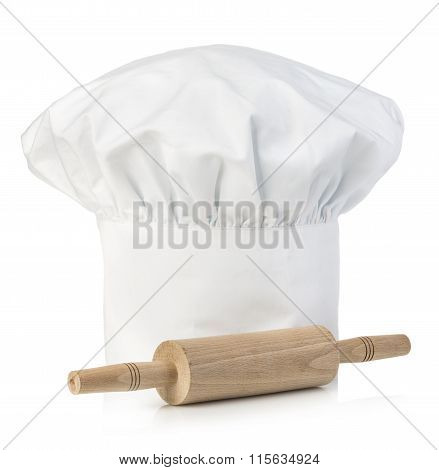 Original Cooks Cap With Wooden Rolling-pin. Chef's Hat Close-up Isolated On A White Background.