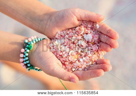 Close up of a little girl holding pink shells in her hands. Pink sand beach on Barbuda island in Caribbean made of tiny pink shells.