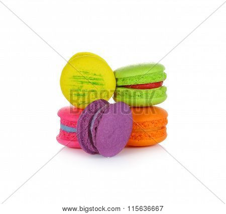 Tasty Colorful Macaroon On White Background