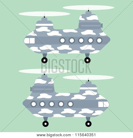 White Texture Military Helicopter Chinook On Green Background. Vector Illustration Flat Design.