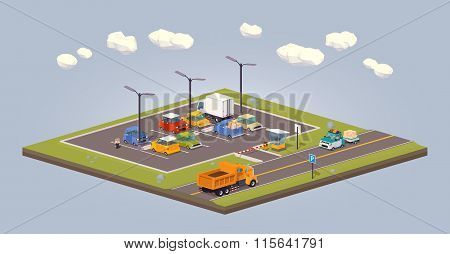 Suburban parking lot. 3D lowpoly isometric vector concept illustration suitable for advertising and promotion poster