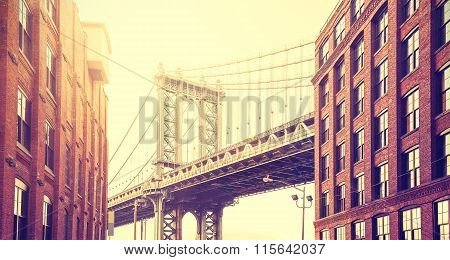 Vintage Stylized Manhattan Bridge Seen From Dumbo, New York.