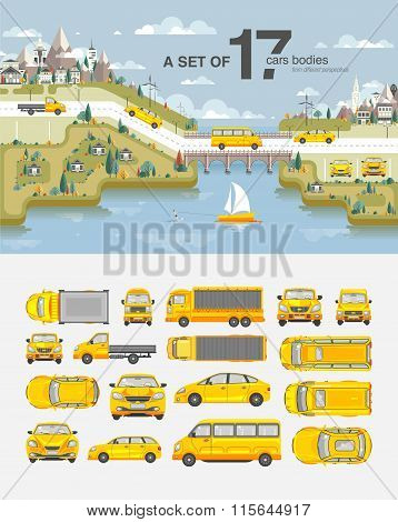 Set cars and buildings with road near sea