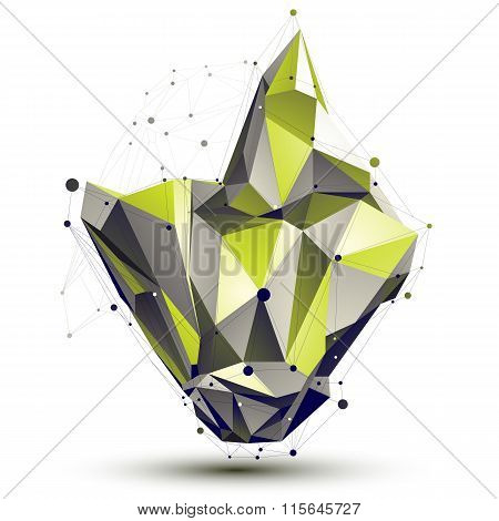 Contemporary Technical Asymmetric Stylish Construction, Light Green Abstract Dimensional Figure With